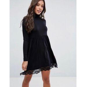 Asos Turtleneck Skater Mini Black Dress Lace Hem